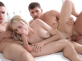 24 years old Russian blonde Arteya fucks two hung guys