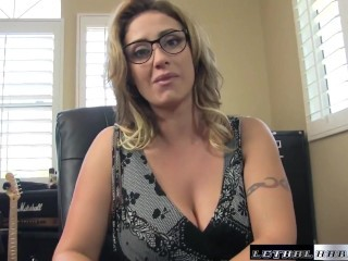 Eva blackmails sons teacher then eats his ass and rides dick