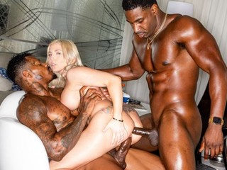 Two black men are double penetrating a hot white doll Christie Stevens