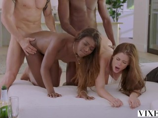 Interracial Foursome with young swinging couples