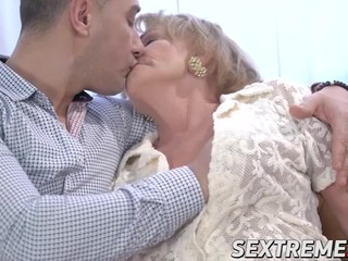 Horny granny is so happy when young stud bangs her rough